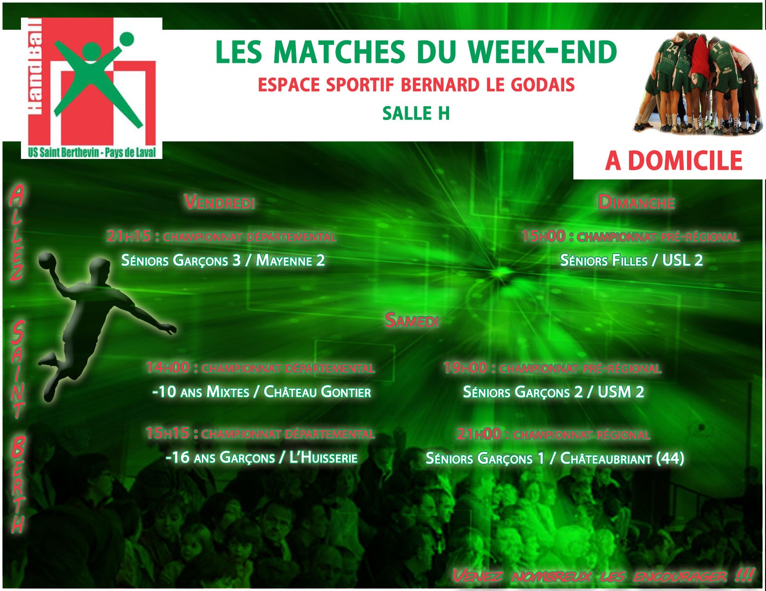LE PROGRAMME DU WEEKEND DU 12/11/2016 A DOMICILE