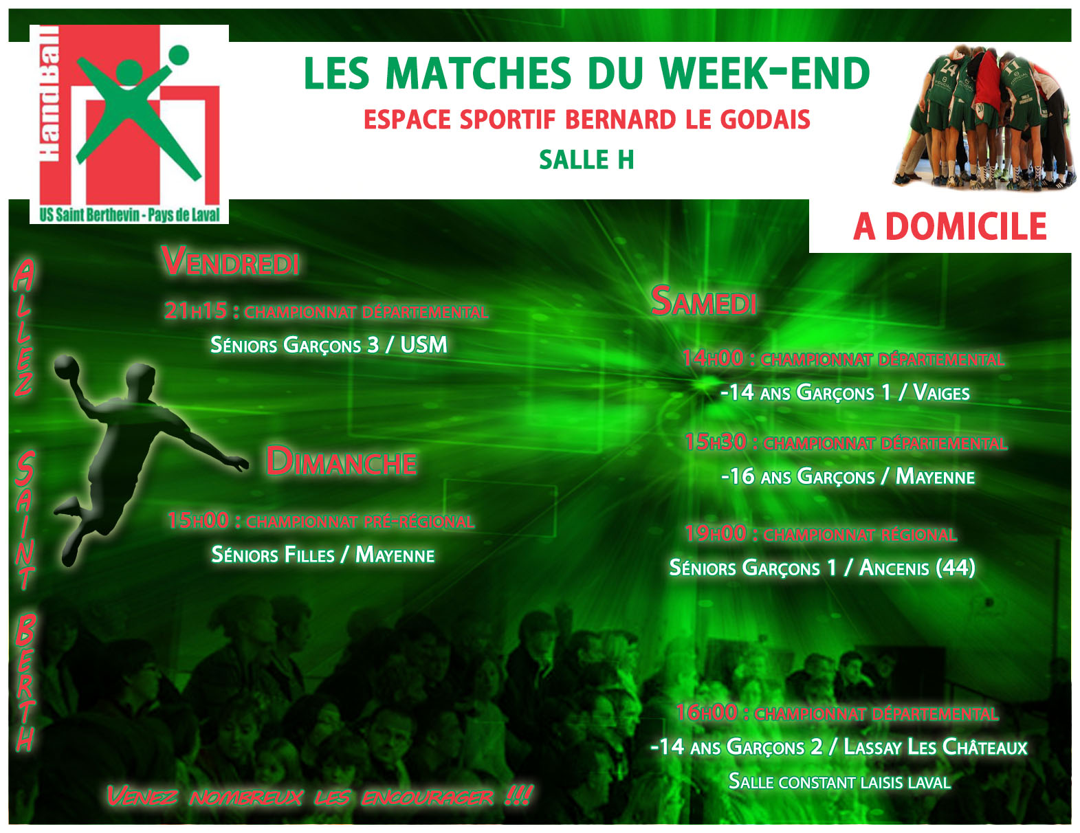 LE PROGRAMME DU WEEKEND DU 11/03/2017 A DOMICILE