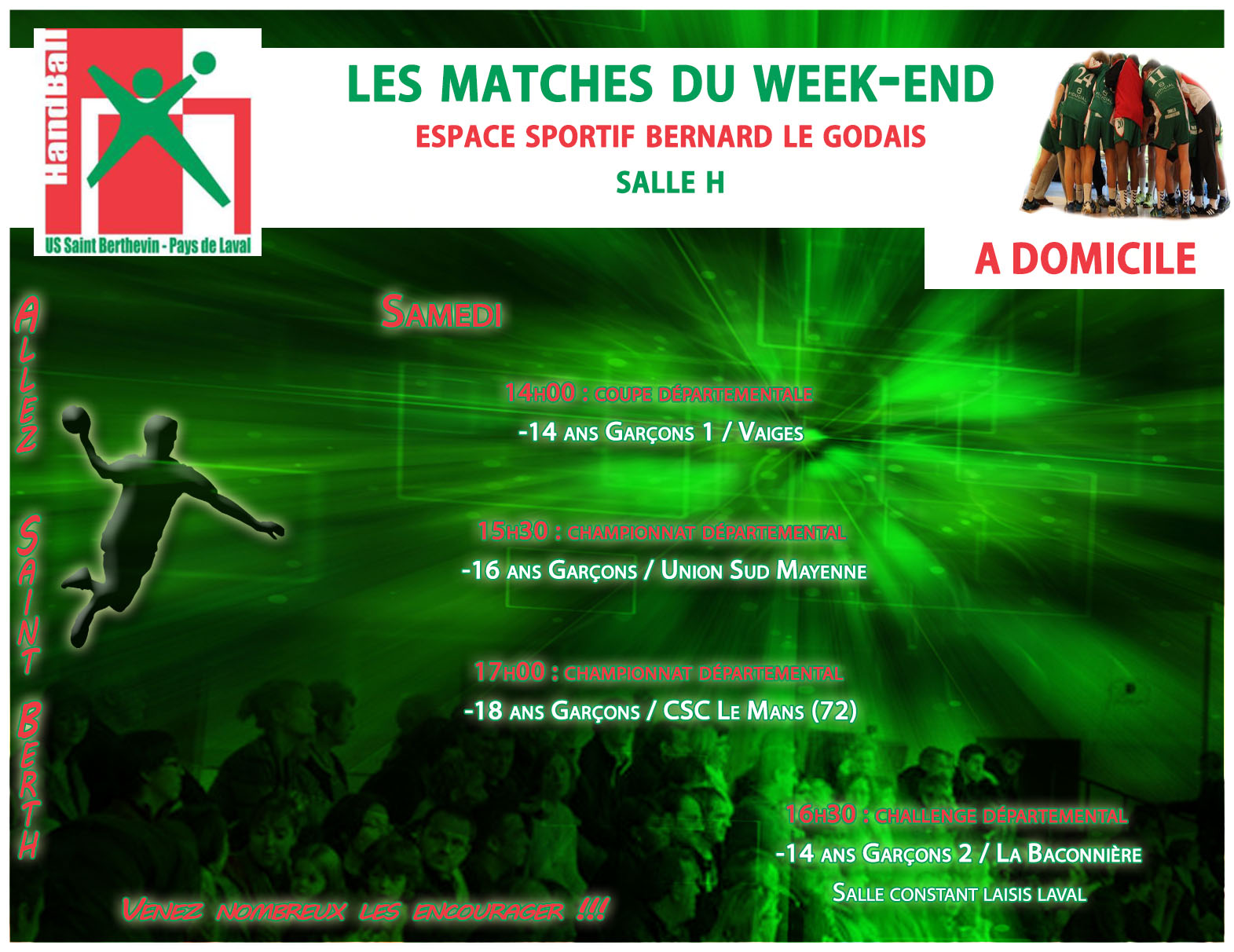LE PROGRAMME DU WEEKEND DU 18/03/2017 A DOMICILE