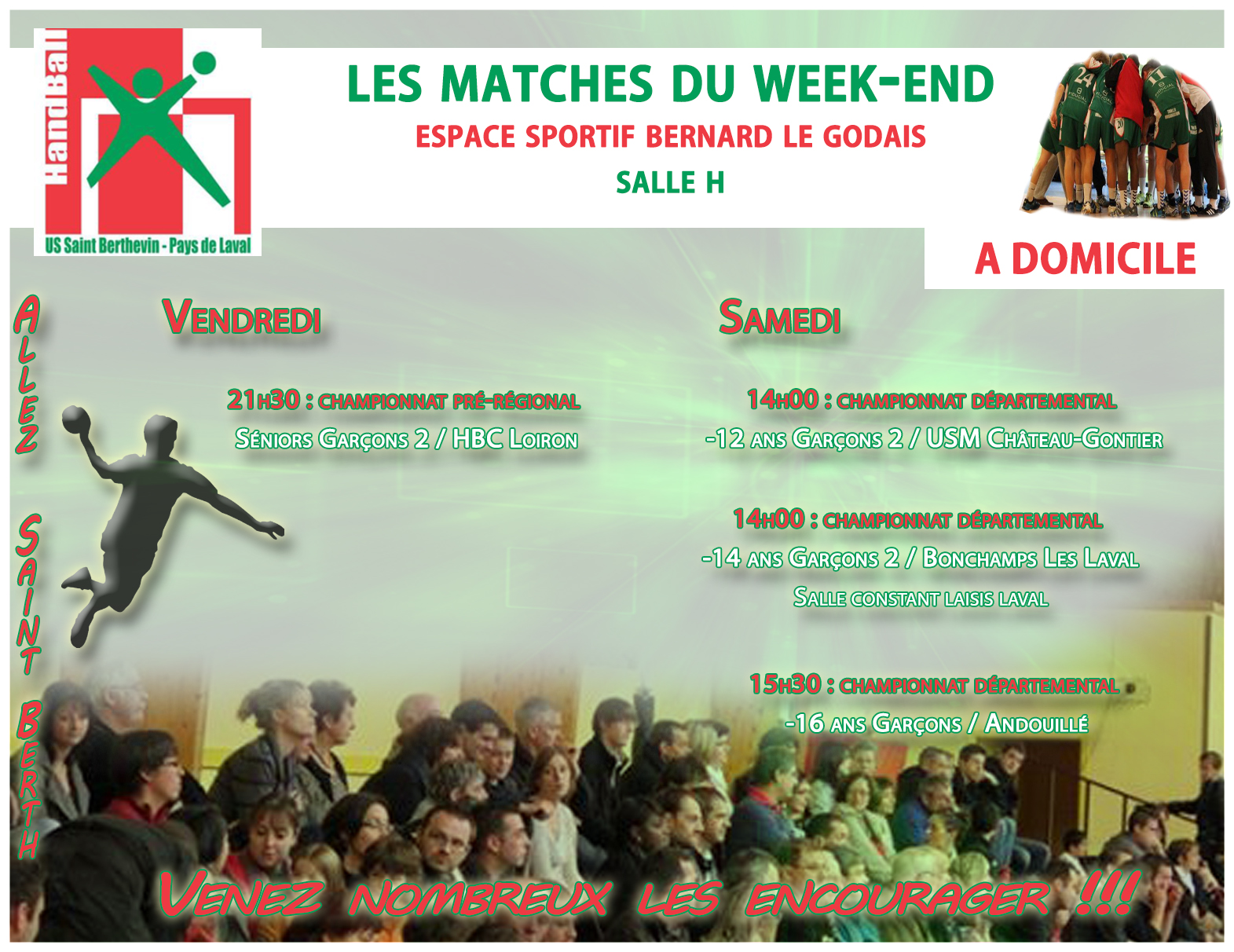 LE PROGRAMME DU WEEKEND DU 29/04/2017 A DOMICILE
