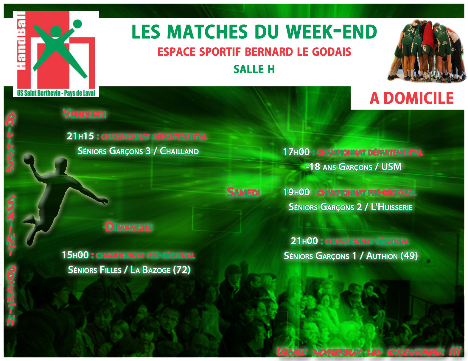 LE PROGRAMME DU WEEKEND DU 03/12/2016 A DOMICILE
