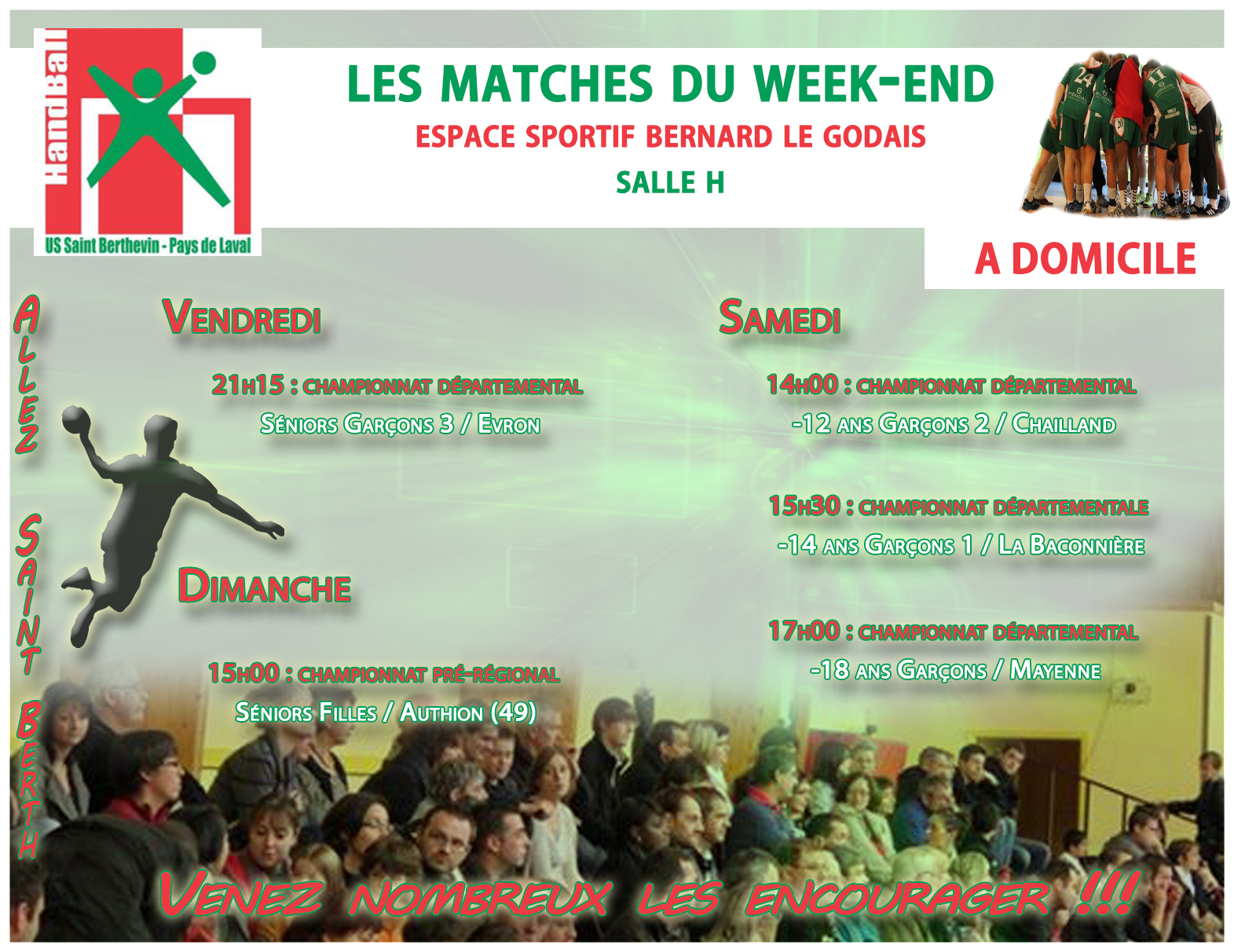 LE PROGRAMME DU WEEKEND DU 13/05/2017 A DOMICILE